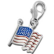 US American Flag Sterling Silver Clip On Charm - With Clasp